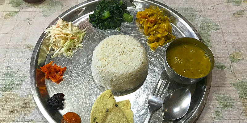 food in Nepali mountain, food in Everest region,Daal bhaat , nepali food
